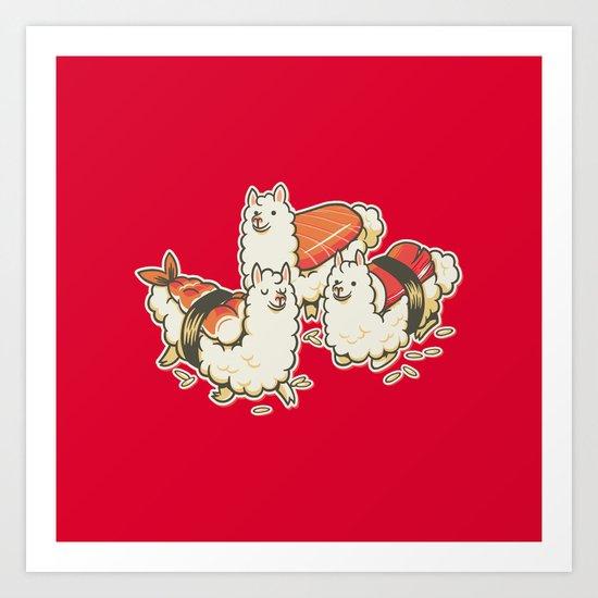 Alpaca Sushi Niguiri Art Print