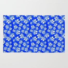 Blue Tropical Flower Pattern Rug