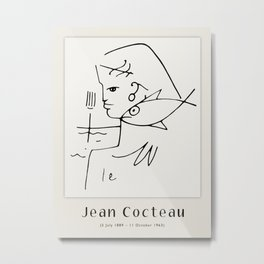 Poster-Jean Cocteau-Linear drawings-The woman-fish. Metal Print
