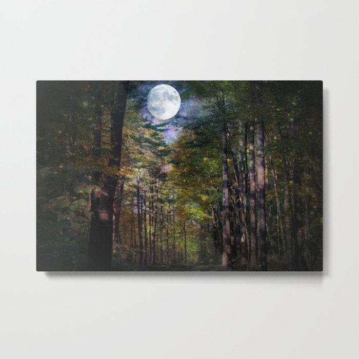 Magical Moonlit Forest Metal Print