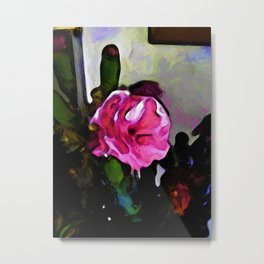 Still Life with a Pink Flower and Burgundy Buds Metal Print