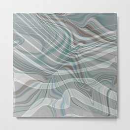 BIRCH muted colors of the woods - green grey brown abstract design Metal Print