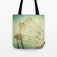 ferris wheel Tote Bags featuring Ferris Wheel by Honey Malek