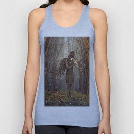 Raven in forest Unisex Tank Top