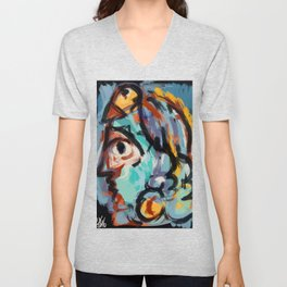 Woman and bird Unisex V-Neck