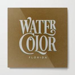 Watercolor, FL Typography (Brown) Metal Print