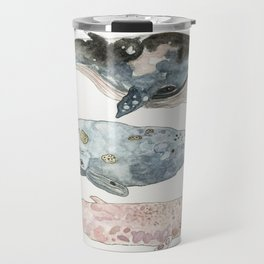 Stacked Watercolor Whales Travel Mug