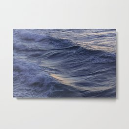 Sea waves lit by the evening sun Metal Print