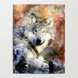 Wolf Animal Wild Nature-watercolor Illustration Poster