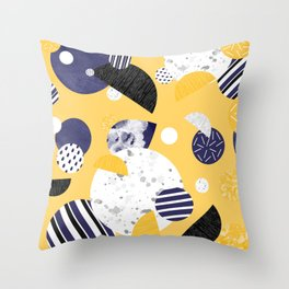 Yellow and Blue Circles Throw Pillow