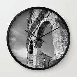 arena amphitheatre pula croatia ancient high black white Wall Clock