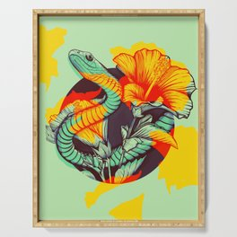 Snake and flowers Serving Tray