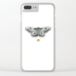 Perseverance - Moth Graphite Drawing by Brooke Figer Clear iPhone Case