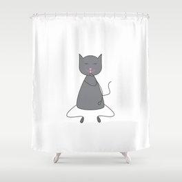Cute grey colored cat Shower Curtain