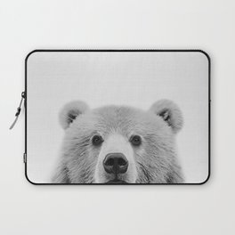 Brown Bear Black&White Laptop Sleeve