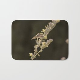 Closeup of Hummingbird Hovering Over Hesperaloe Parviflora Flower Bath Mat