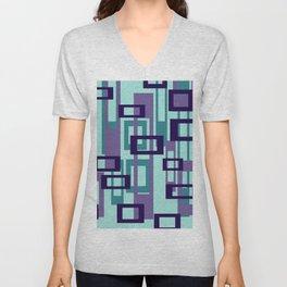 Geometric rectangles pattern violet Unisex V-Neck