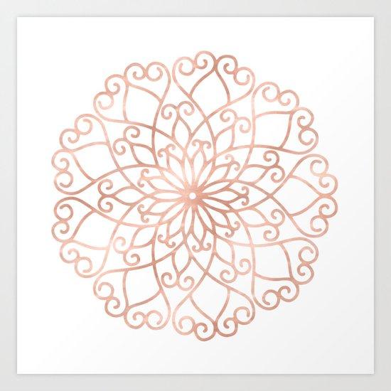 Mandala Rose Gold Pink Flower Art Print