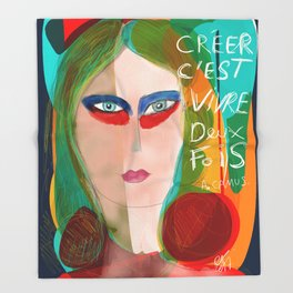 Pop Girl Albert Camus Words Throw Blanket
