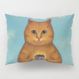 Every Cat need a Home. Ginger Cat Illustration Pillow Sham
