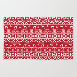 Whippet fair isle dog breed pattern christmas holidays gifts dog lovers red and white Rug
