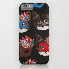 Mask and cute lovely cat pattern black background iPhone Case