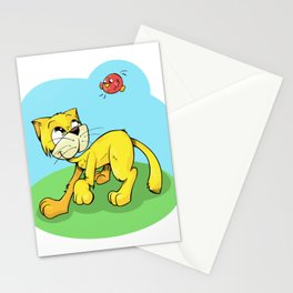 Funny Cat and Red Sparrow Stationery Cards