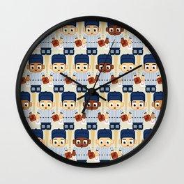 Baseball Pinstripes White and Blue - Super Cute Sports Stars Wall Clock