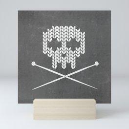 Knitted Skull (White on Grey) Mini Art Print