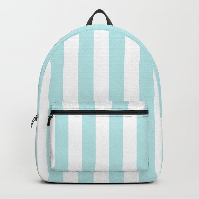Striped- Turquoise vertikal stripes on white- Maritime Summer Beach Backpack