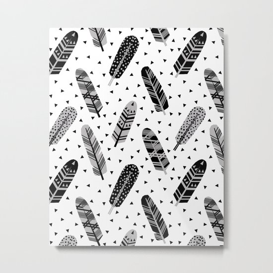 Feathers black and white triangle geometric modern trendy hipster boho southwest native style kids Metal Print
