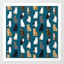 Cat breeds pattern kitty kittens cats tabby siamese white tortoiseshell Art Print