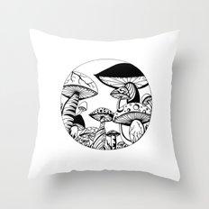 Mushroom Art Hand drawn design Throw Pillow