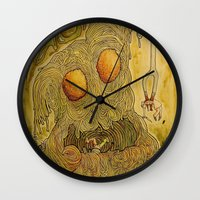 pasta Wall Clocks featuring Killer Pasta by Marcelo O. Maffei