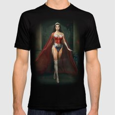 Wonder . Woman Mens Fitted Tee Black LARGE