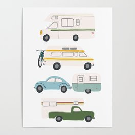 Vintage RV Motorhome Trailers Campers Poster