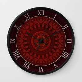 Dark and light red mandala Wall Clock
