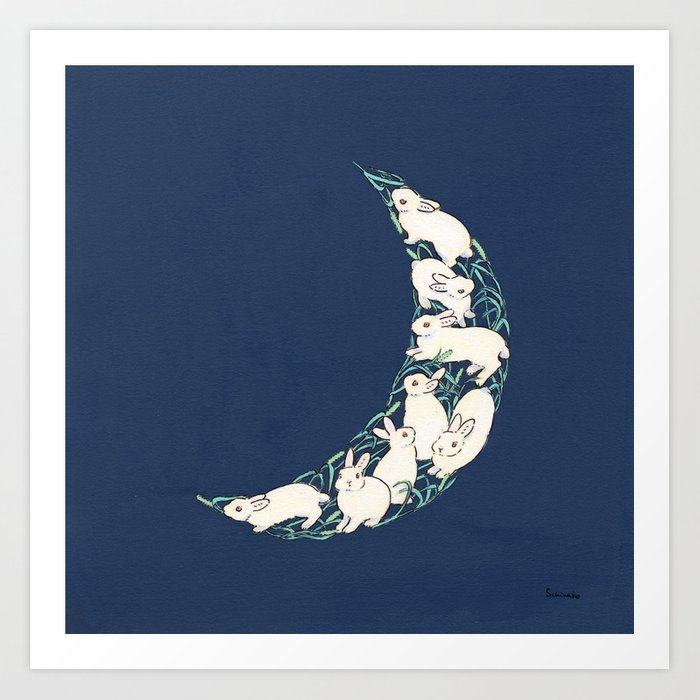 The crescent moon of bunnies and hay Art Print