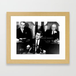 Kennedy Announces Mission To Moon Framed Art Print
