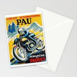 Grand Prix Pau, vintage poster, Motorcycle poster, race poster, Motorcycle poster Stationery Cards