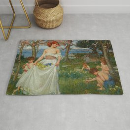 "John William Waterhouse ""A Song of Springtime"" Rug"