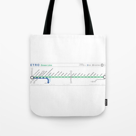 Twin Cities METRO Green Line Map Tote Bag