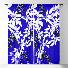 LEAF AND TREE BRANCHES BLUE AND WHITE BLACK BERRIES Blackout Curtain