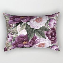 Purple Plum Pink Watercolor Peonies and Greenery Rectangular Pillow