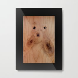 Timber Abstract design creating an image of a puppy face with black border background Metal Print