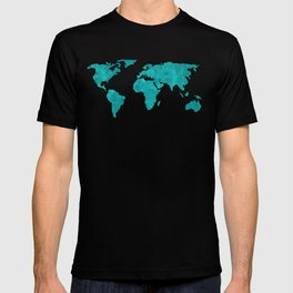 Teal Cyan Metallic Foil Map on Black T-shirt