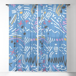 Blue Memphis Sheer Curtain