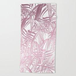 Vintage Pink Tropical Palm Leaf Pattern Beach Towel