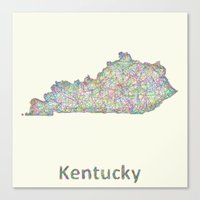 kentucky Canvas Prints featuring Kentucky map by David Zydd