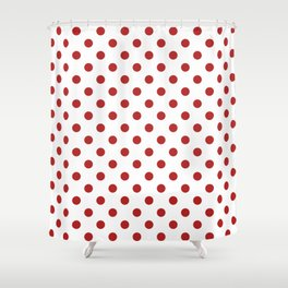 Small Polka Dots - Firebrick Red on White Shower Curtain